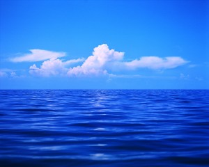 Clouds in a Blue Sky over the Ocean